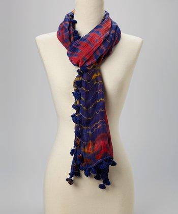 Fiore by La Fiorentina Red & Dark Blue Tie-Dye Pom-Pom Silk-Blend Scarf