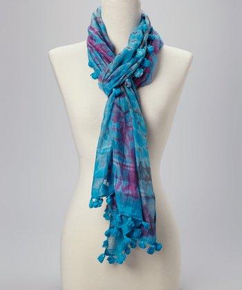 Fiore by La Fiorentina Blue Tie-Dye Pom-Pom Silk-Blend Scarf