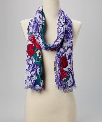 Fiore by La Fiorentina Green & Purple Floral Scarf