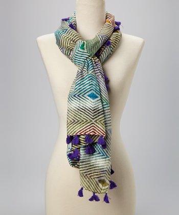 Fiore by La Fiorentina Purple & White Diamond Tassel Silk-Blend Scarf