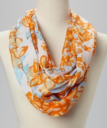 Fiore by La Fiorentina Orange & Light Blue Infinity Scarf