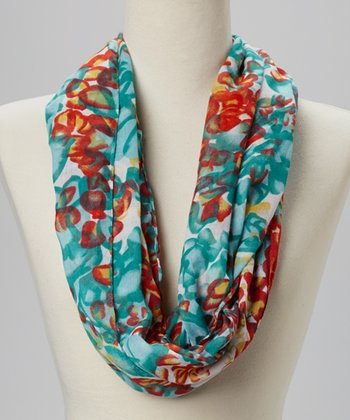 Fiore by La Fiorentina Teal & Red Infinity Scarf