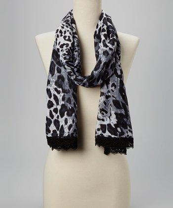 Fiore by La Fiorentina Black & Gray Leopard Lace-Trim Scarf