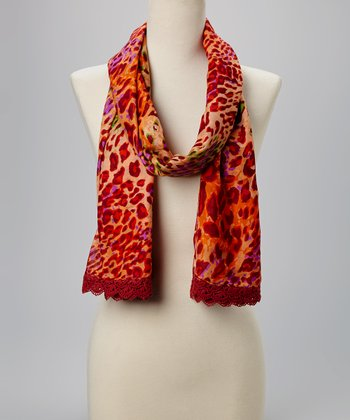 Fiore by La Fiorentina Red & Green Leopard Lace-Trim Scarf