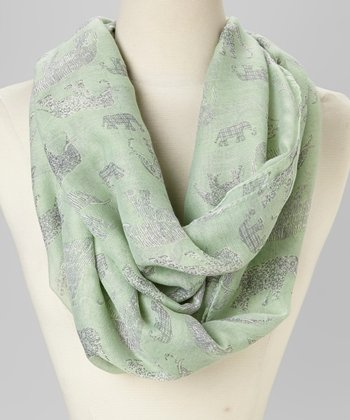 Mint Animal Infinity Scarf