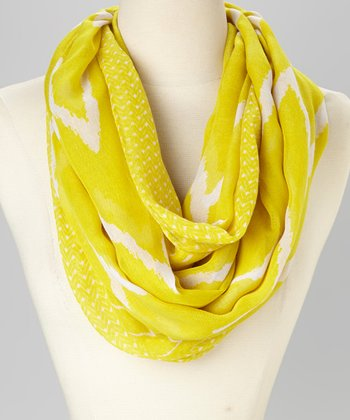 Yellow & White Ikat Infinity Scarf