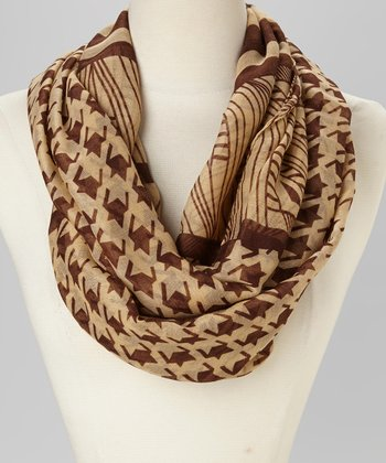 Camel & Brown Houndstooth Infinity Scarf