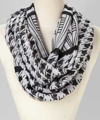 Black & White Houndstooth Infinity Scarf
