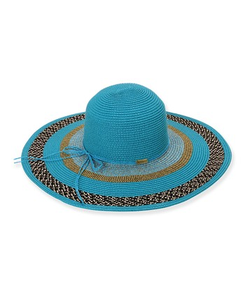 Turquoise Paper-Braid Wide-Brim Hat