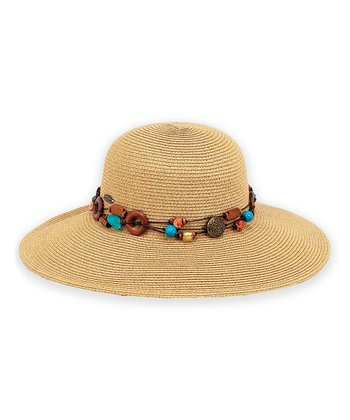 Natural Beaded Trim Sunhat