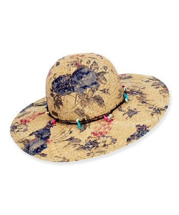 Blue & Pink Floral Wide-Brim Hat