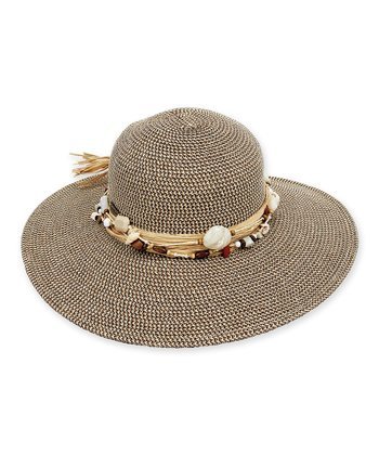 Brown Beaded Trim Hat