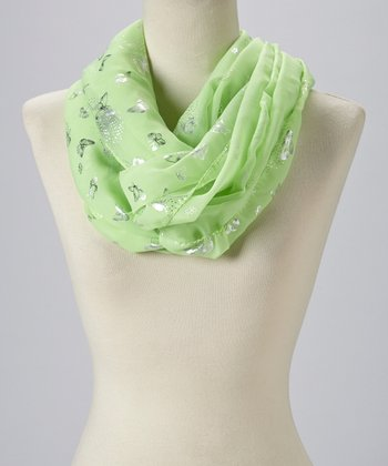 Green & Silver Butterfly Infinity Scarf