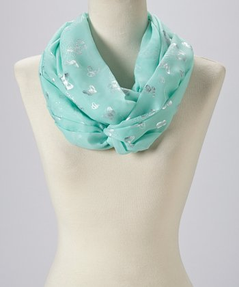 Blue & Silver Butterfly Infinity Scarf