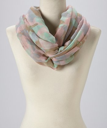 Pink & Green Abstract Infinity Scarf