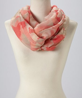 Red & Khaki Abstract Infinity Scarf