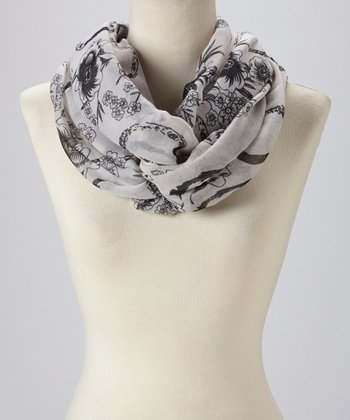 Light Gray Floral Infinity Scarf