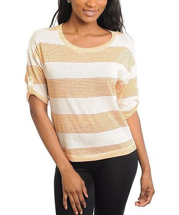 Ivory & Peach Stripe Three-Quarter Sleeve Top