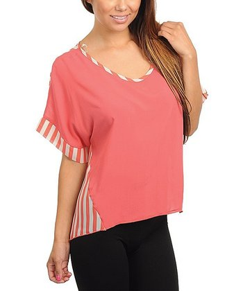 Coral & Ivory Stripe V-Neck Top