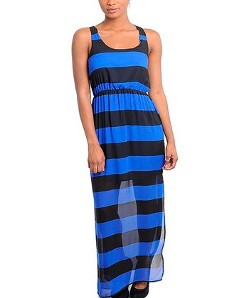 Royal & Black Bold Stripe Sleeveless Maxi Dress