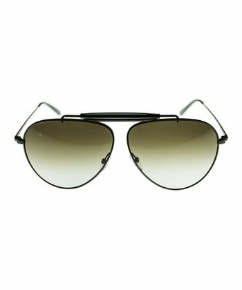 Black Burnished Pilot Sunglasses