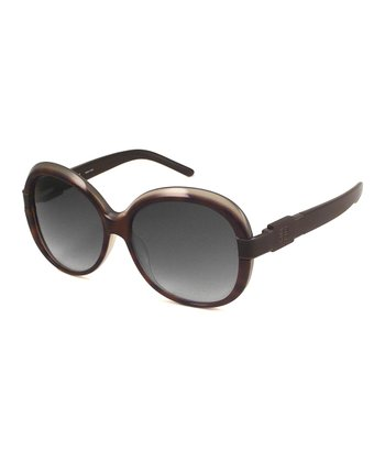 Tortoise Gray Round Sunglasses
