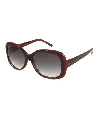 GIVENCHY Burgundy & Gray Square Sunglasses