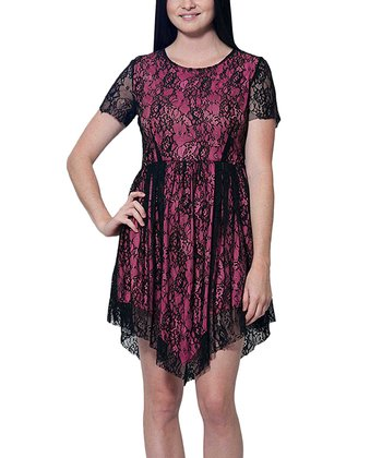 Fuchsia Lace Handkerchief Dress