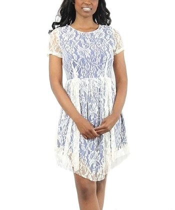Blue Lace Handkerchief Dress
