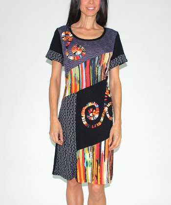 Red Abstract Swirl Patchwork Dress