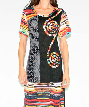 Red & Black Swirl Patchwork Dress
