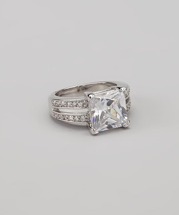 Crystal & White Gold Princess-Cut Dual Band Ring