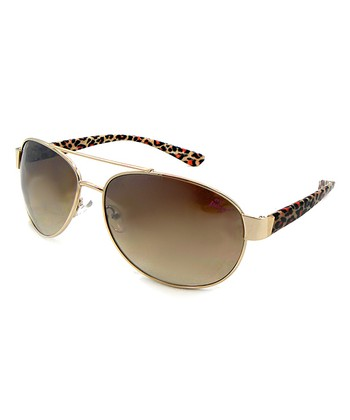 Betsey Johnson Gold Leopard Pilot Sunglasses