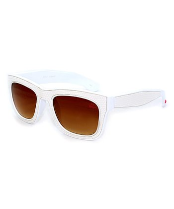 Betsey Johnson White Wide-Rim Sunglasses