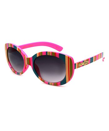 Betsey Johnson Pink & Yellow Stripe Sunglasses