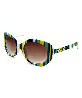 Betsey Johnson Blue & Green Stripe Sunglasses