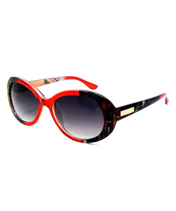 Betsey Johnson Red & Black Oval Sunglasses