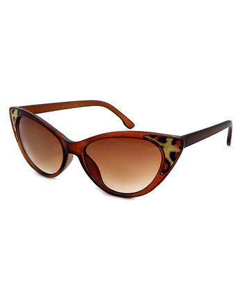 Betsey Johnson Brown Leopard Cat-Eye Sunglasses
