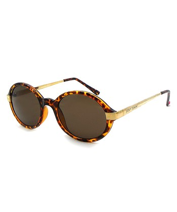 Betsey Johnson Gold & Tortoise Round Sunglasses