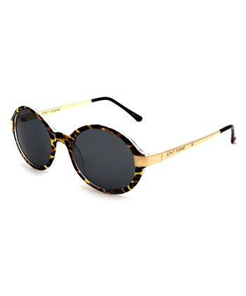 Betsey Johnson Gold & Leopard Round Sunglasses