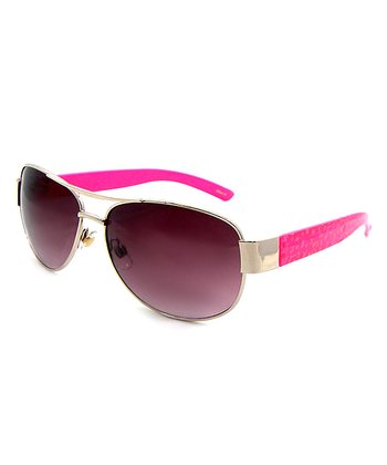 Betsey Johnson Pink & Gold Pilot Sunglasses