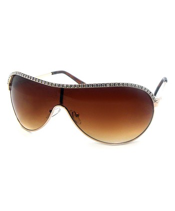 Betsey Johnson Gold Studded Shield Sunglasses