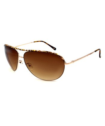 Betsey Johnson Gold & Red Pilot Sunglasses
