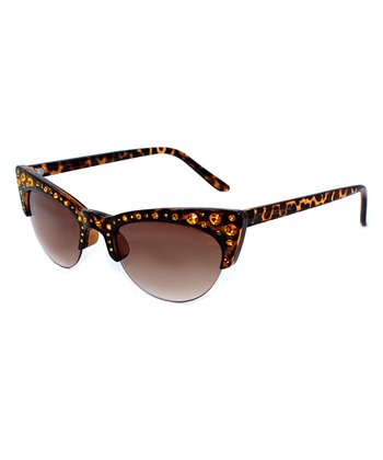 Betsey Johnson Tortoise Browline Cat-Eye Sunglasses