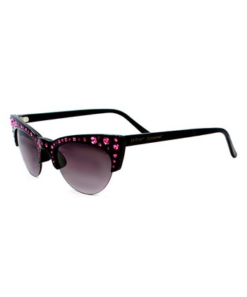 Betsey Johnson Black & Red Gem Browline Cat-Eye Sunglasses