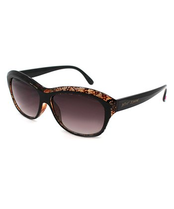 Betsey Johnson Black Snake Square Sunglasses
