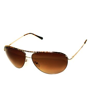 Betsey Johnson Gunmetal & Gold Pilot Sunglasses