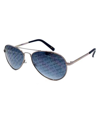 Betsey Johnson Gunmetal 'Betsey XO' Pilot Sunglasses