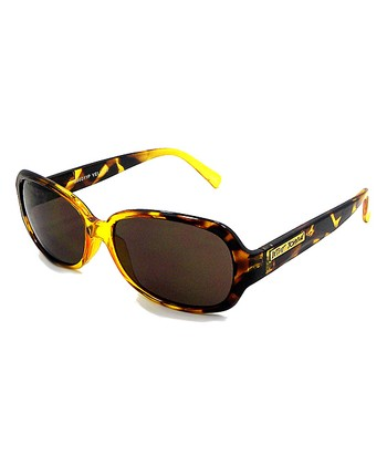 Betsey Johnson Yellow Tortoise Oval Sunglasses