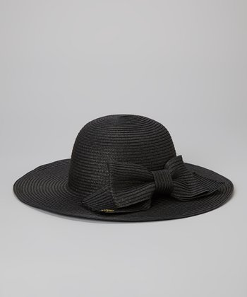 Betsey Johnson Black Floppy Bow Sun Hat